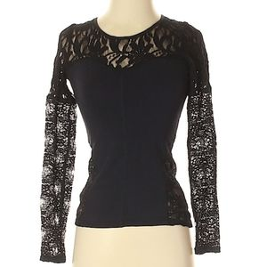 Free People cutout back lace long sleeve tee XS